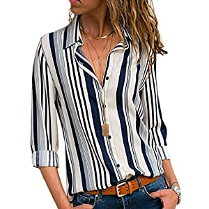 Dearlovers Womens Long Sleeves Shirts V Neck Button Up Striped Casual Blouses Tops
