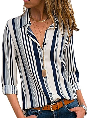 Women Color Block Striped Shirts Button up Long Roll Sleeve Fashion Casual Blouses Loose Fit V Neck Design Tops Striped-1...