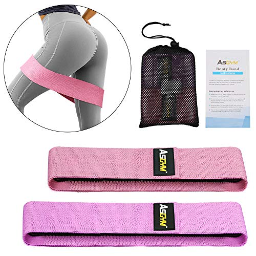 Asgym Booty Resistance Bands for Legs and Butt, Non-Slip Thick Elastic Band Exercise, Heavy Fabric Fitness Loop Circle Workout for Women Men, Activate Glutes | Thighs Hip Bands Set of 2