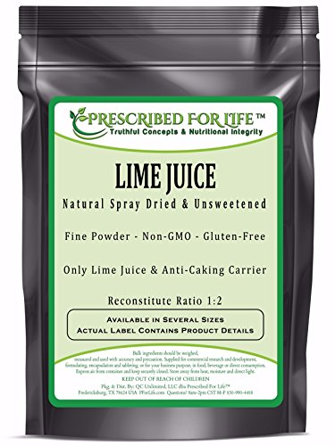 Lime Juice Powder - Natural Spray Dried & Unsweetened Non-GMO Lime Juice - Reconstitute Ratio 1:2, 12 oz