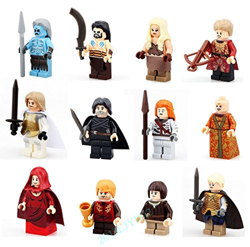 [12 PCS Set Game of Thrones Figures Lot Jon Snow White Walker Building Blocks Toy] (Cheap Melisandre Costume)