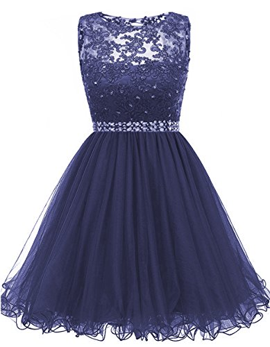 omecoming Dresses Sequined Appliques Cocktail Prom Gowns Short H010 4 Navy ()