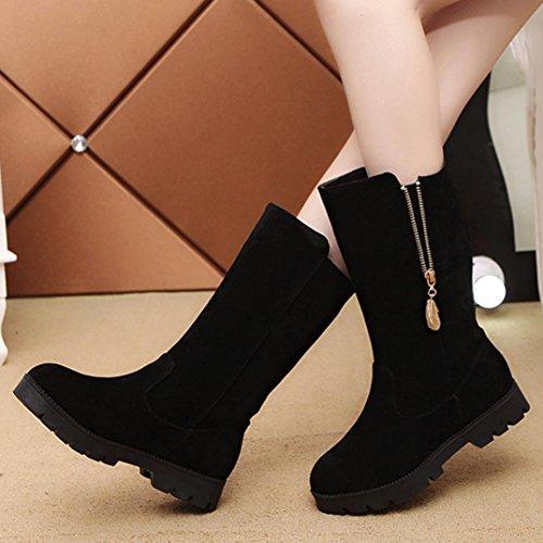 Botas Mujer,Ouneed ® Las mujeres de la EU 35-43 hebilla de falso caballero caliente botas Flat Martin zapatos Negro