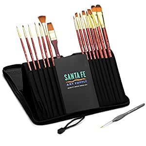 67% OFF! Santa Fe Art Supply Best Quality Artist Paintbrush Set. Acrylic Oil Watercolor & Face Paint. 15 (+1) Professional Paint Brushes In Travel Case...
