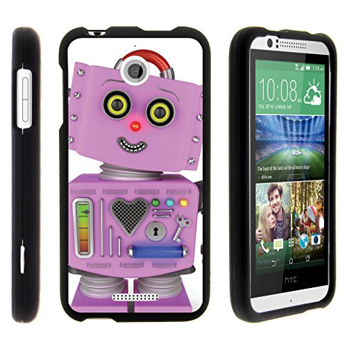 TurtleArmor | HTC Desire 510 Case [Slim Duo] Hard Shell Snap On Case Fitted Compact Matte on Black Robot Android Design - Purple Robot