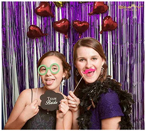DOLM 2 Pack Foil Fringe Curtain,Purple Tinsel Metallic Curtains Photo Backdrop for Wedding Engagement Bridal Shower Birthday Bachelorette Party Stage Decor(3 ft x 8 ft)