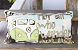 """Rustic Hippie Pillow With VW Bus Design And Embroidered Words """"Not All That Wonder Are Lost"""" Cotton Pillow-Wonderland Home Decor"""