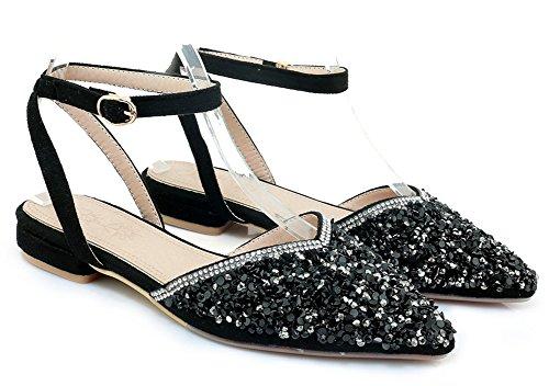 Aisun Women's Comfy Sequins Pointy Toe Flat Sandals Black MiqdW