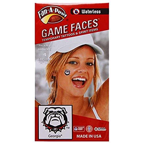 Fan-A-Peel NCAA Georgia Bulldogs Ugga 4-Pack Waterless Temporary Tattoos