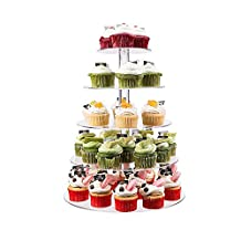 SaveOnMany ® 5 Tier Circle Round Clear Acrylic Cake Stand Cupcake Stand Bakeware Wedding Party Transparent Holder ( Also can use as 1 2 3 4 Tier)