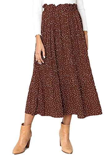 (Mystry Zone Women Skirts for Work Polka Dots Summer Evening Party Dress Skirt Brown Small)