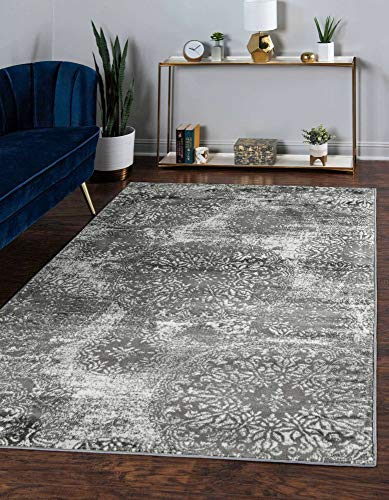 Unique Loom Sofia Collection Traditional Vintage Area Rug, 5′ x 8′, Gray/Ivory