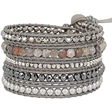 """Chan Luu Womens 32"""" Mix Sectioned Wrap Bracelet on Grey Leather"""