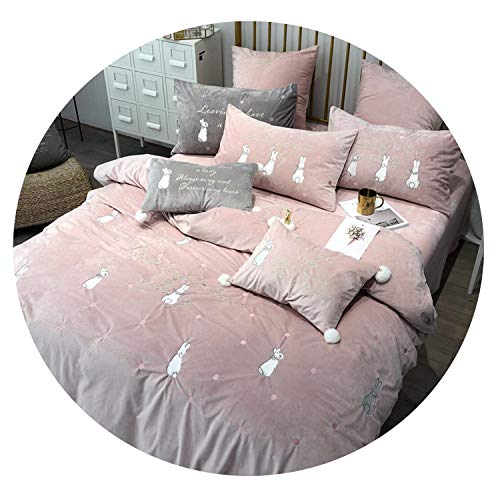 Dreamedge bedclothes New Coral Fleece Embroidered Bedding Set Brand Rabbit Embroidery 4/5/6/7pcs Bed Set Quilt Cover Sheets Pillowcase,Pink,4pcs Queen