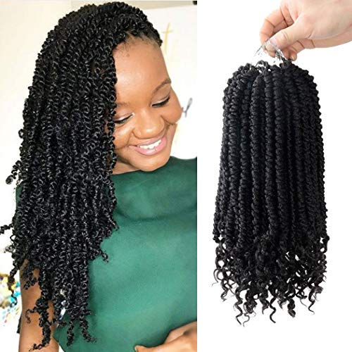 (6 Pack Senegalese Spring Twist Crochet Hair Curl End Bomb Twist Crochet Hair 14 inch Synthetic Hair Extensions Fluffy Spring Twist Crochet Braids)