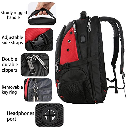 17 Inch Laptop Backpack,Extra Large Travel Backpacks with USB Charging Port for Business Women Mens, Large Capacity Bookbag for College School Student,TSA Friendly Water Resistant Computer Bagpack Red by YOREPEK (Image #5)