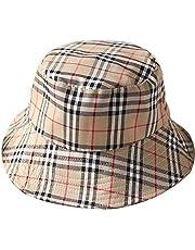 VIVICMW Flat Top Breathable Bucket Hats Cotton Bucket Hat Unisex Plaid Bordered Summer Cap Outdoor Fishing Hunting (Khaki)