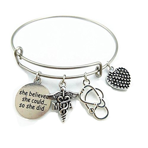 My Shape Stainless Steel Adjustable Wire Bangle MA Medical Assistant Charm She Believed She Could Bracelet Graduation Trendy Jewelry Gift