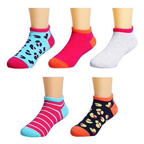 Ankle Socks Heels - IMOZY Low-Cut No Show Socks for Girls- Girls Ankle Socks with Y Heel- 5 Pack Size 1-4 for Big Kids