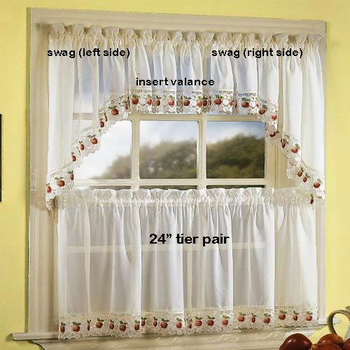 Apple Orchard Kitchen Curtain - 24'' tier (pr)