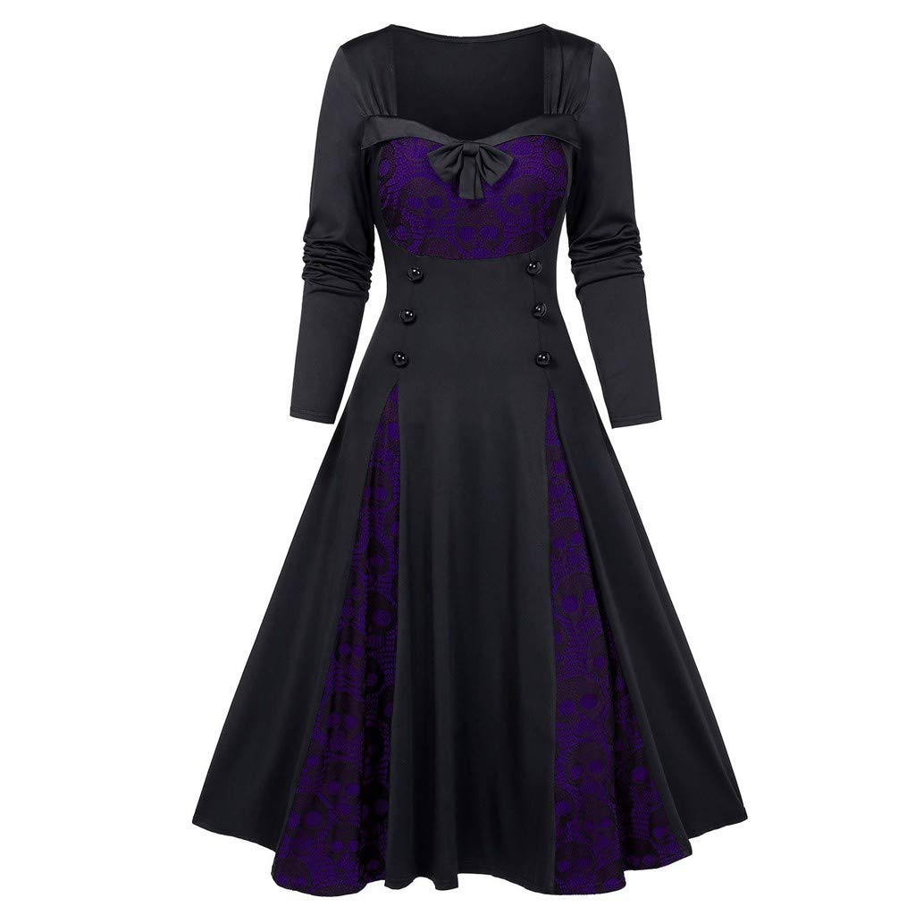 HebeTop Women Halloween Skull Lace Long Sleeve Dress Casual Printed Party Swing Midi Dresses Purple by HebeTop➟Women's Clothing
