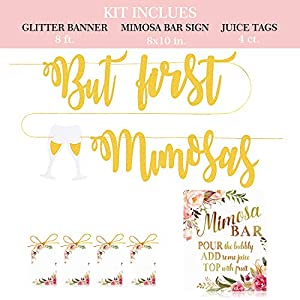 MORDUN Mimosa Bar Sign Banner Tags – Gold Floral Decorations for Bridal Shower Bubbly Bar Champagne Baby Shower Wedding Birthday Party Graduation Fiesta