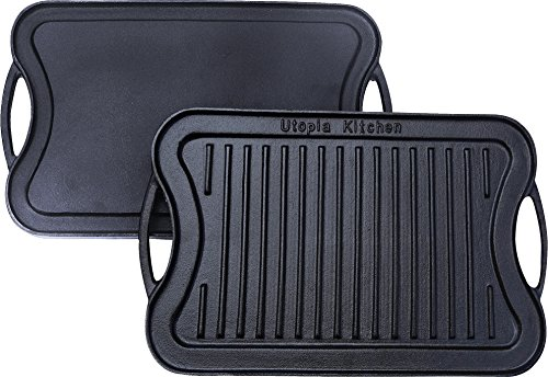 Utopia Kitchen Reversible Cast Iron Grill Griddle, 17 x 10 inch (Cast Iron Grill Pan Non Stick compare prices)