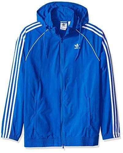 adidas Originals Men's Superstar Windbreaker, Blue Bird, XS - Adidas Nylon Tights