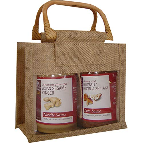 """7.75"""" Natural Jute Bottle Mini Gourmet Bags with Two Compartment from GC Home & Garden"""