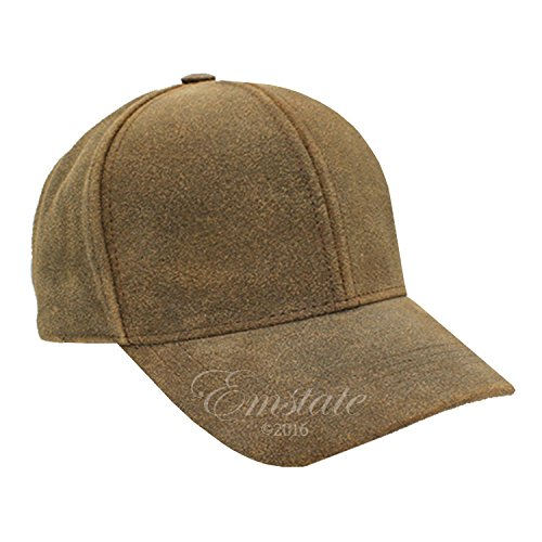 Emstate Genuine Cowhide Leather Unisex Baseball Cap Made in USA Buckle Back (Distressed Brown)