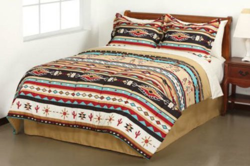 Southwest Turquoise Tan Red Native American Queen Comforter Set (8 Piece Bed In A Bag) ()