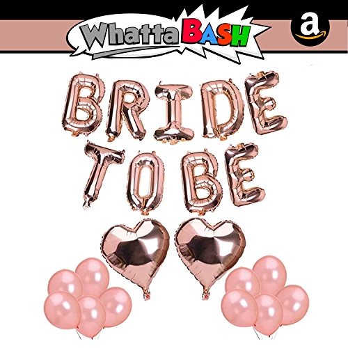 Rose Gold Bride to Be Balloons Set - Large Shimmery Bride Squad Banner Bridal Shower Bachelorette Party Decorations Kit Engagement Supplies Wedding Favors Accessories Bride Tribe Glitter Photo Shoot by Whatta Bash