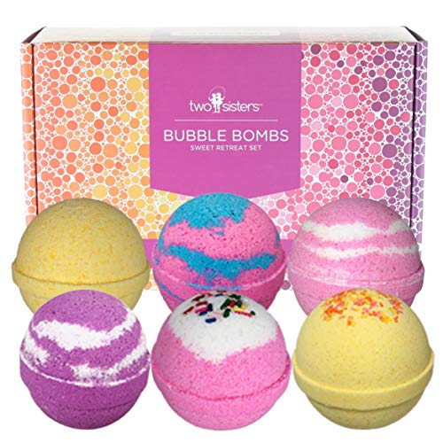 Sweet Retreat Birthday Bubble Bath Bombs Gift Set by Two Sisters Spa. 6 Large 99% Natural Fizzies For Women, Teens and Kids. Moisturizes Dry Sensitive Skin. Releases Lush Color, Scent, and Bubbles.