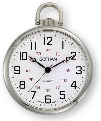 Gotham Men's Silver-Tone Ultra Thin Railroad Open Face Quartz Pocket Watch # GWC15026S