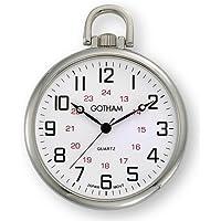 Gotham Men's Silver-Tone Ultra Thin Railroad Open Face Quartz Pocket Watch # GWC15026S