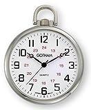 (US) Gotham Men's Silver-Tone Ultra Thin Railroad Open Face Quartz Pocket Watch # GWC15026S