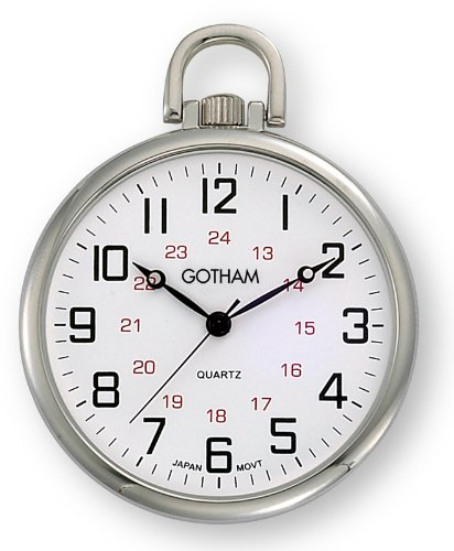Gotham Men's Silver-Tone Ultra Thin Railroad Open Face Quartz Pocket Watch # GWC15026S -
