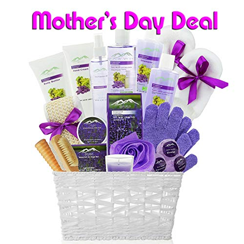 - Deluxe XL Gourmet Spa Gift Basket with Essential Oils. 20-Piece Luxury Bath & Body Gift Set with Bath Bombs, Bubble Bath & More! Huge Gift Set for Her, Holiday Gift (Grapeseed & Lavender)