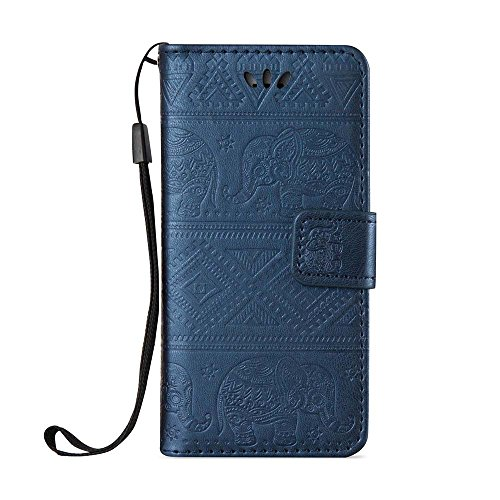 (Galaxy Note 5 Case, ESSTORE Retro Elephant Embossing PU Leather Protective Covers with Card Slot Holder Wallet Case for Samsung Galaxy Note 5, Blue)