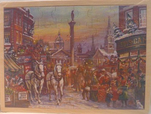 Simplex Wooden Jigsaw Puzzle - Nostalgic Christmas in London (Trafalgar Square) - Simplex Square