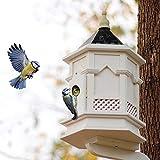 C-Xka Wall-Mounted Bird Feeder, English Classical Rain Bird House Bird Feeder Landscape Gardening High-end Villa Decoration for Backyard Garden