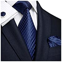 Landisun SILK Various Solids Mens SILK Tie Set: Necktie+Hanky+Cufflinks
