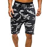 WEUIE Comouflage Cargo-Shorts for Men, Men's Workout Gym Running Shorts SweatpantsSummer Casual Short Pants Black