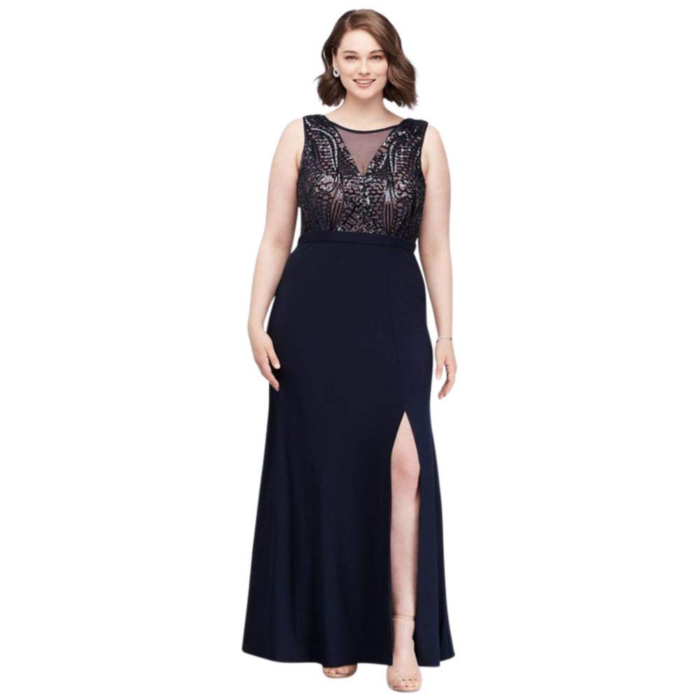 David\'s Bridal Sequin Bodice Plus Size Gown with Illusion V ...