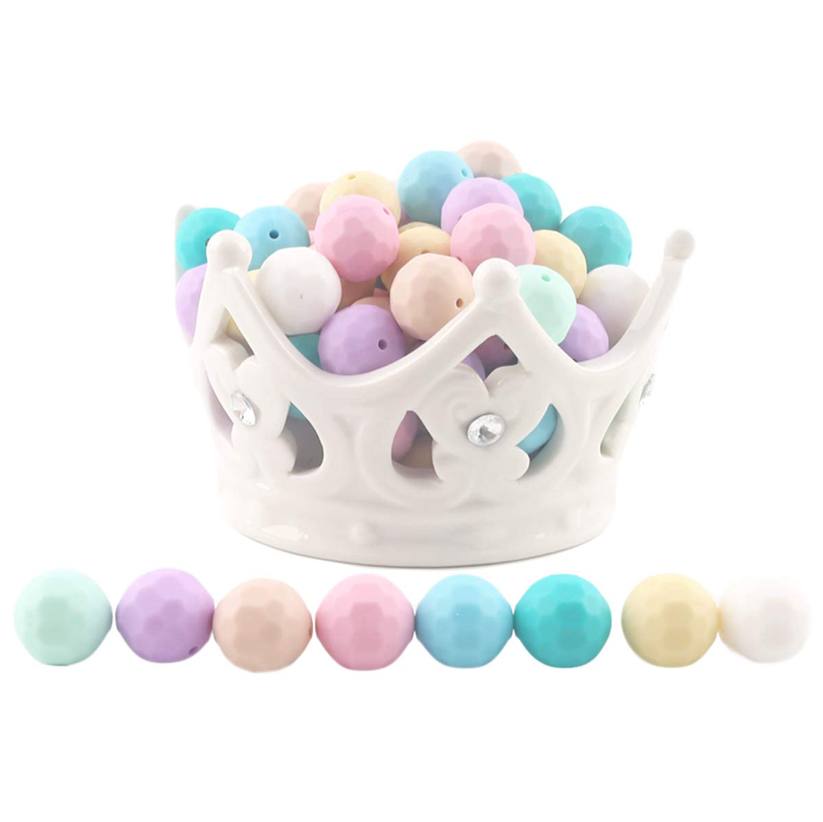 Baby Love Home Silicone Teething Round Beads Multi-faceted 15mm 100pc Teether Beads Candy Colors DIY Teether Jewelry for Mom and Baby Necklace Teething Toy by Baby Love Home