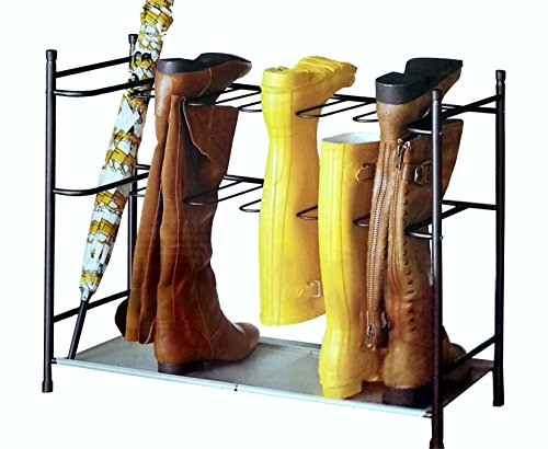 Boot Rack - Boot & Shoe Organizer Storage Rack with Sturdy Space-Saving Stackable Steel Frame for 6-Pair (Bronze)