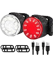 USB Rechargeable LED Bike Lights Set, Ultra Bright Front and Back Rear Bicycle Light Combo, IPX5 Waterproof Mountain Road Helmet Cycle Headlight and Taillight Set for Men Women Kids (6 Modes)