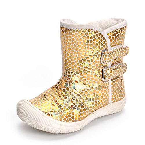 Enteer Infant Baby Girls' Soft Rubber Sole Anti-Slip Warm Winter Prewalker Leather Toddler Boots (19-24months, Leopard)