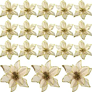 WILLBOND 24 Pieces 6 Inch Christmas Glitter Poinsettia Flowers Decorative Artificial Flowers for Christmas Tree Ornaments (Gold)