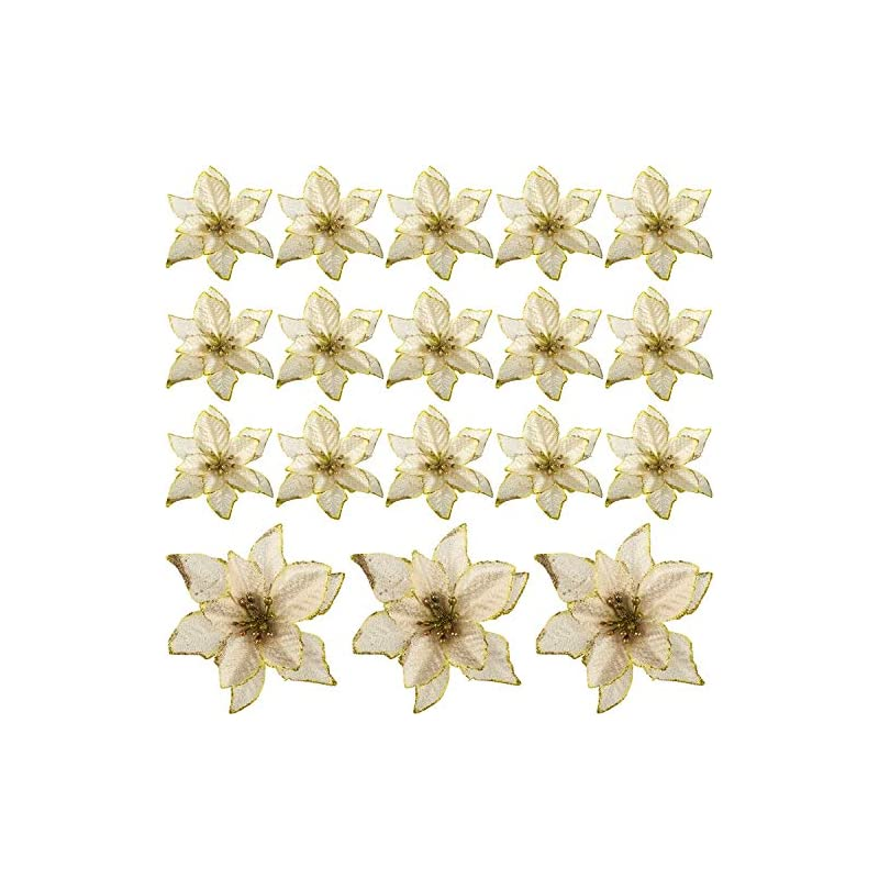 silk flower arrangements willbond 24 pieces 6 inch christmas glitter poinsettia flowers decorative artificial flowers for christmas tree ornaments (gold)